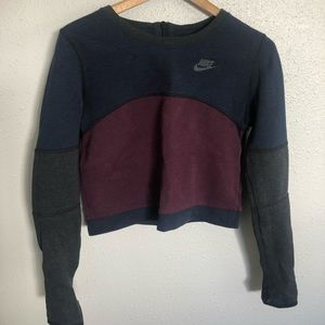 Nike blue maroon gray cropped sweatshirt